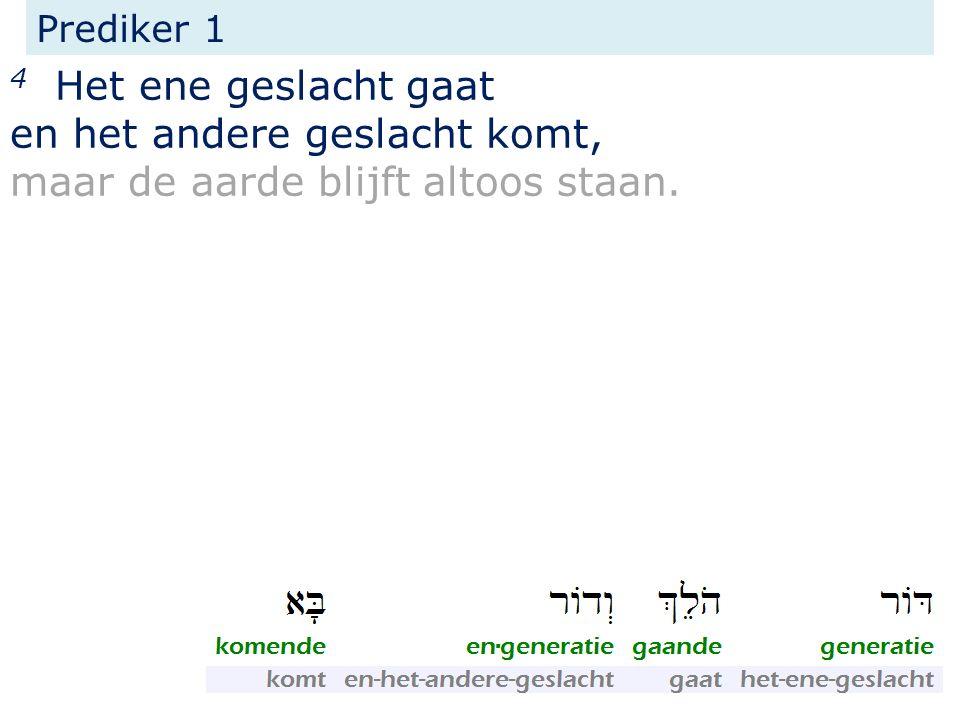 Prediker 1 4 Het ene geslacht gaat en het andere geslacht komt, maar de aarde blijft altoos staan.