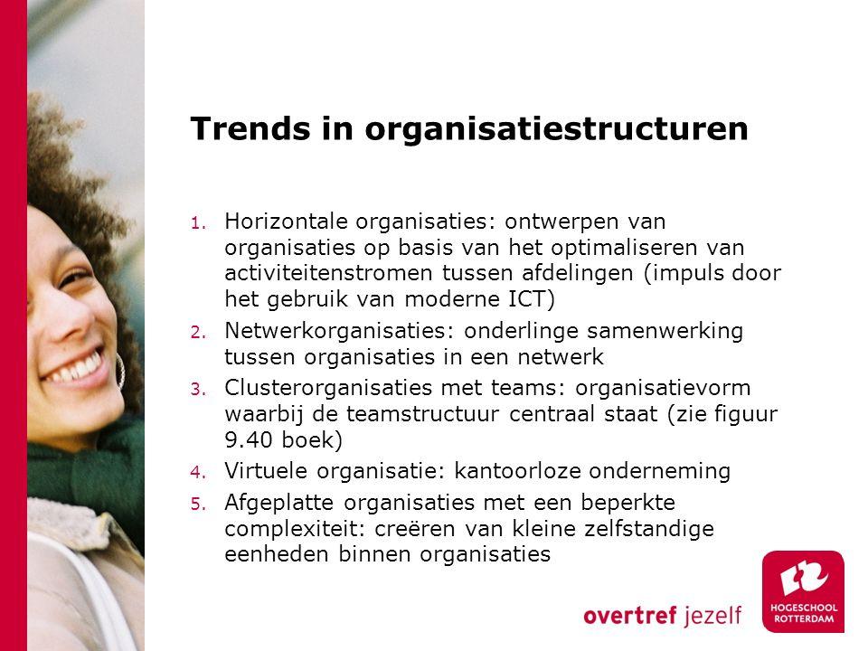 Trends in organisatiestructuren 1. Horizontale organisaties: ontwerpen van organisaties op basis van het optimaliseren van activiteitenstromen tussen