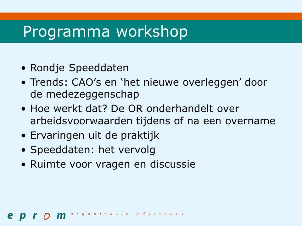 Programma workshop Rondje Speeddaten Trends: CAO's en 'het nieuwe overleggen' door de medezeggenschap Hoe werkt dat.