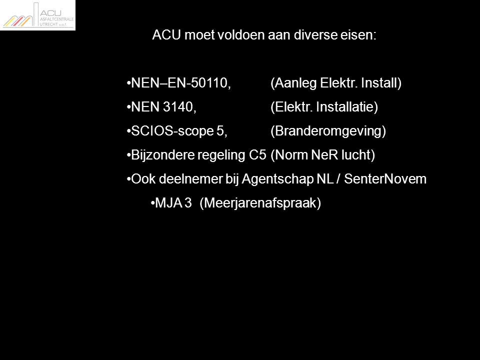 ACU moet voldoen aan diverse eisen: NEN–EN-50110, (Aanleg Elektr.