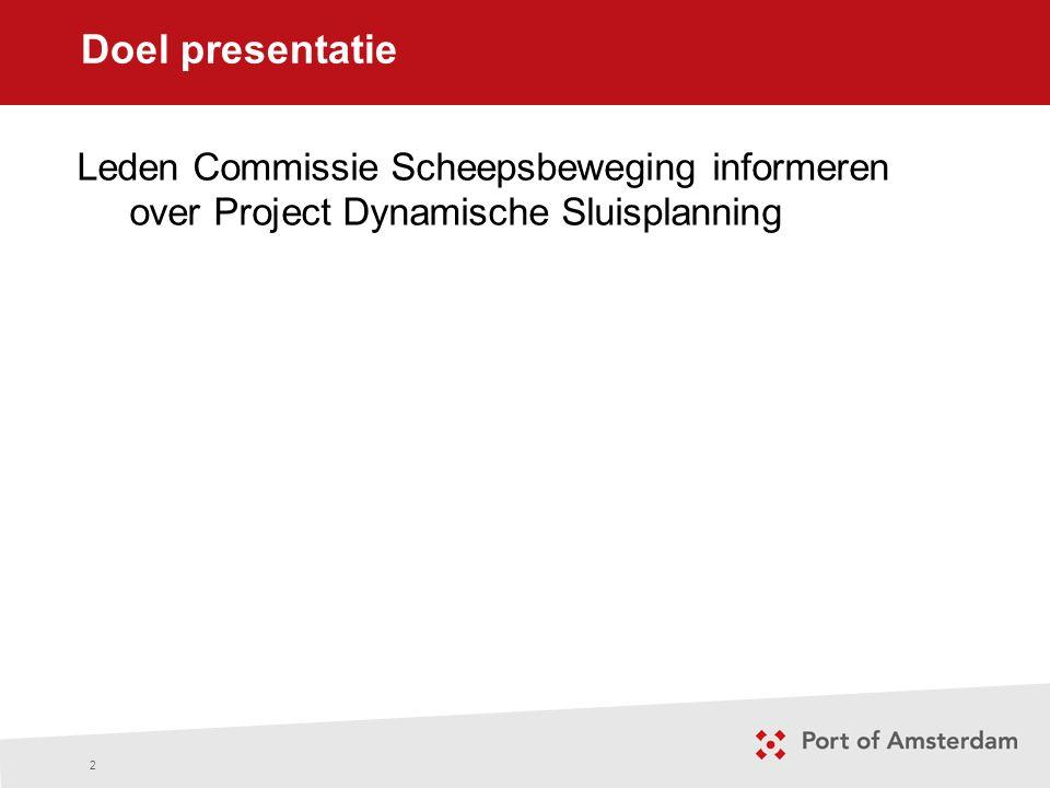 Doel presentatie 2 Leden Commissie Scheepsbeweging informeren over Project Dynamische Sluisplanning
