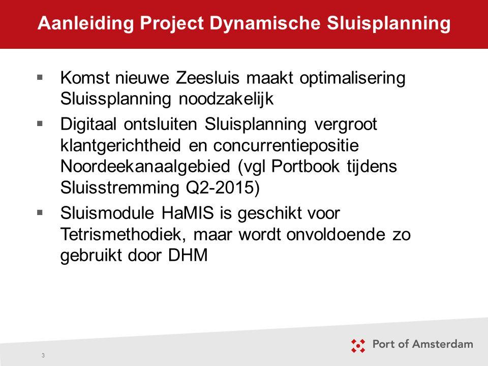 Opdracht Project Dynamische Sluisplanning 4 1.Implementeer uiterlijk medio 2016 Sluisplanning volgens Tetrismethodiek via HaMIS bij DHM, waarbij mutaties zichtbaar zijn 2.Ontsluit deze sluisplanning naar de buitenwereld 3.Betrek externe stakeholders bij deze ontwikkeling tijdens de implementatie, zodat zij in de toekomst hun werkwijze hierop kunnen afstemmen
