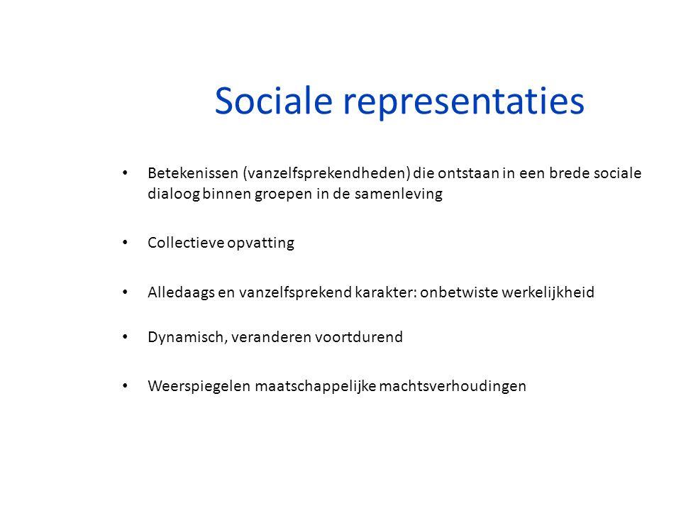 Sociale representaties Betekenissen (vanzelfsprekendheden) die ontstaan in een brede sociale dialoog binnen groepen in de samenleving Collectieve opva