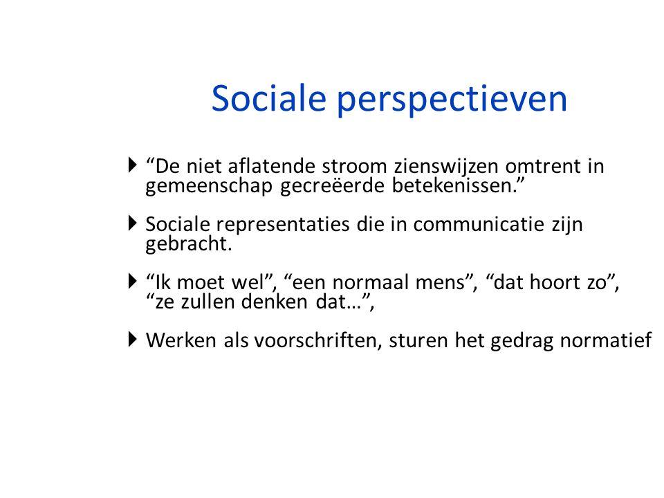 """Sociale perspectieven  """"De niet aflatende stroom zienswijzen omtrent in gemeenschap gecreëerde betekenissen.""""  Sociale representaties die in communi"""