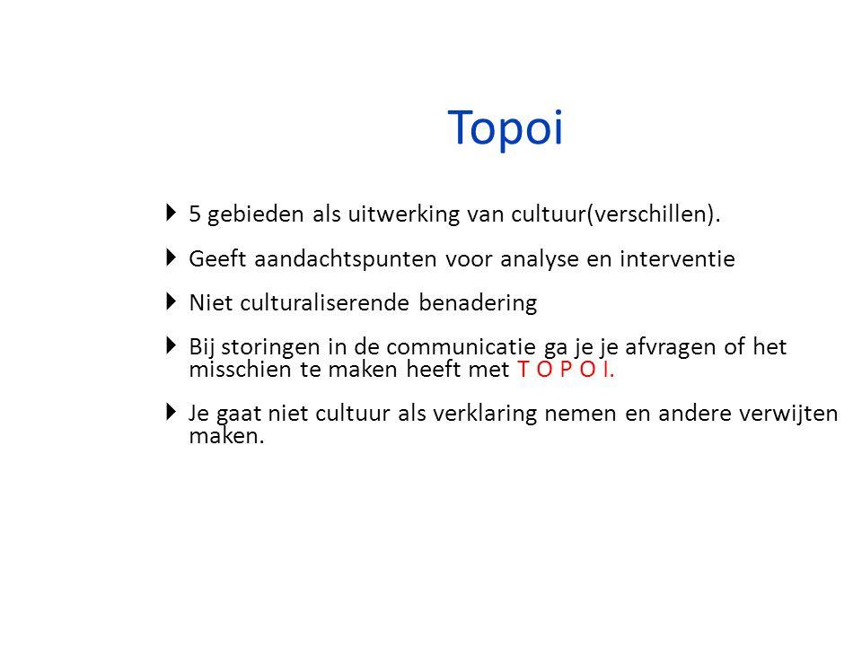 Topoi  5 gebieden als uitwerking van cultuur(verschillen).  Geeft aandachtspunten voor analyse en interventie  Niet culturaliserende benadering  B