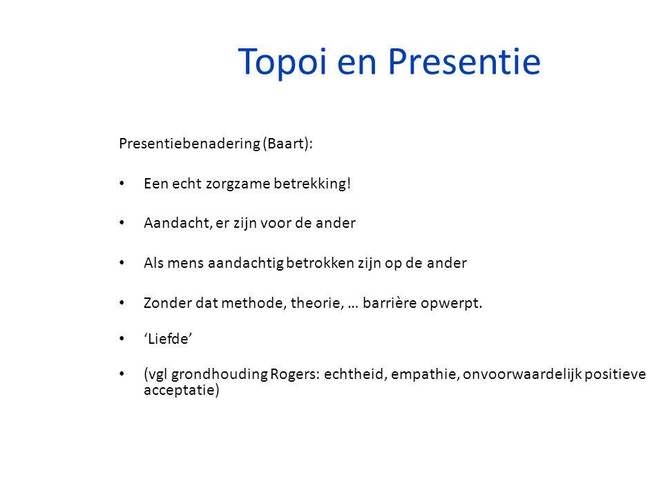 Topoi en Presentie Presentiebenadering (Baart): Een echt zorgzame betrekking! Aandacht, er zijn voor de ander Als mens aandachtig betrokken zijn op de