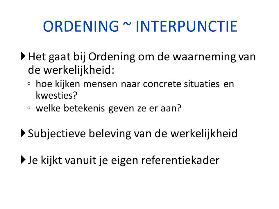 ORDENING ~ INTERPUNCTIE  Het gaat bij Ordening om de waarneming van de werkelijkheid: ◦ hoe kijken mensen naar concrete situaties en kwesties? ◦ welk