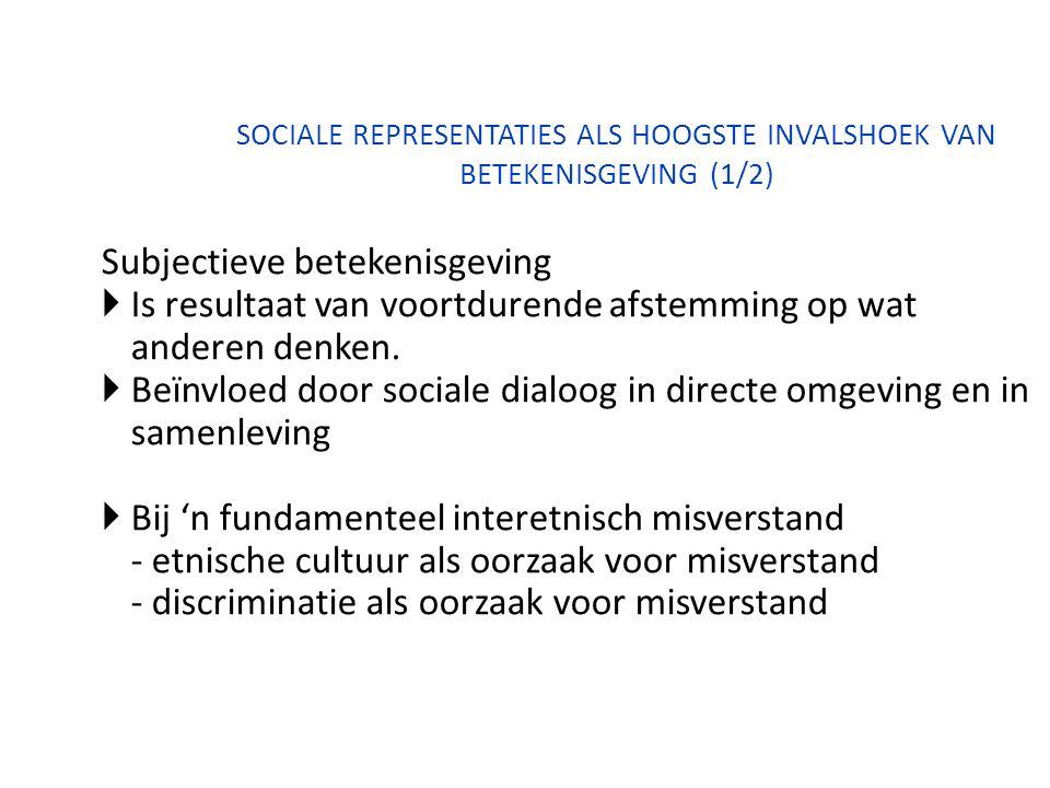 SOCIALE REPRESENTATIES ALS HOOGSTE INVALSHOEK VAN BETEKENISGEVING (1/2) Subjectieve betekenisgeving  Is resultaat van voortdurende afstemming op wat