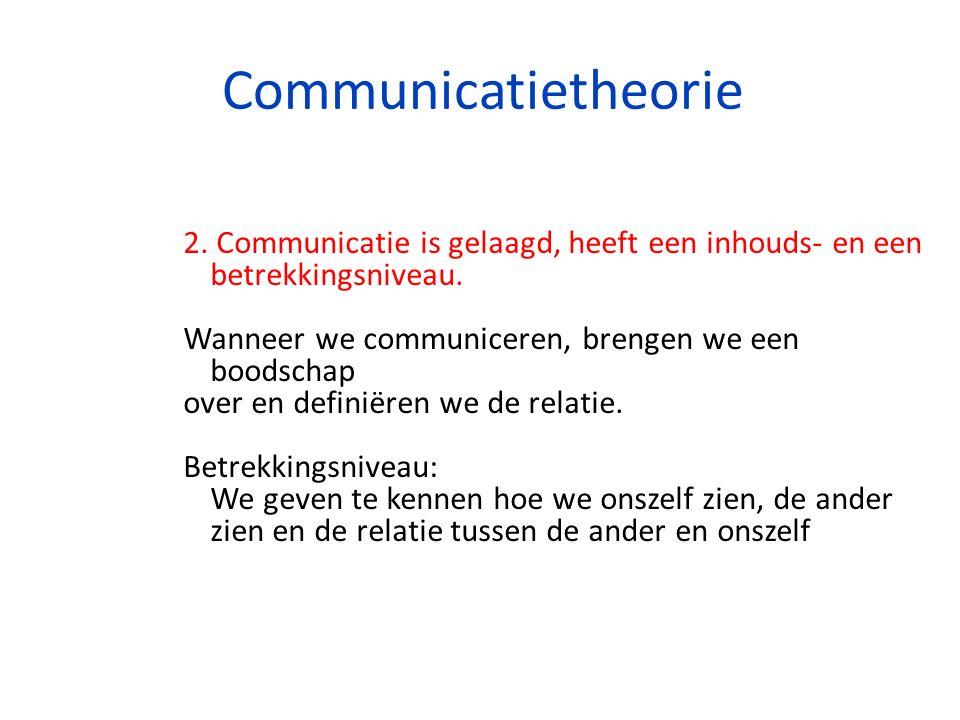 Communicatietheorie 2. Communicatie is gelaagd, heeft een inhouds- en een betrekkingsniveau. Wanneer we communiceren, brengen we een boodschap over en