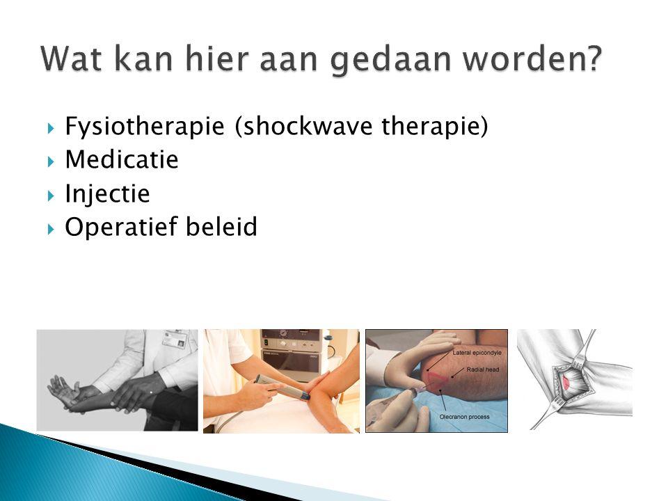  Fysiotherapie (shockwave therapie)  Medicatie  Injectie  Operatief beleid