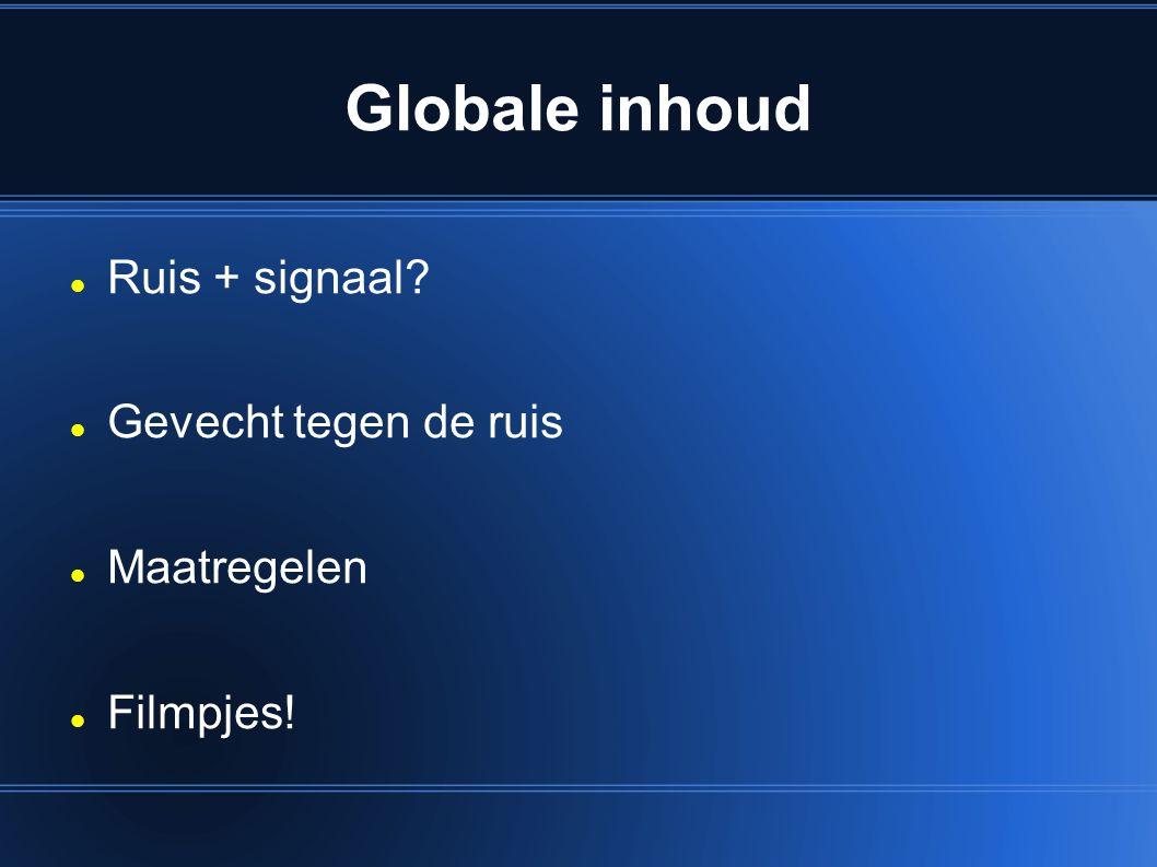 Globale inhoud Ruis + signaal? Gevecht tegen de ruis Maatregelen Filmpjes!