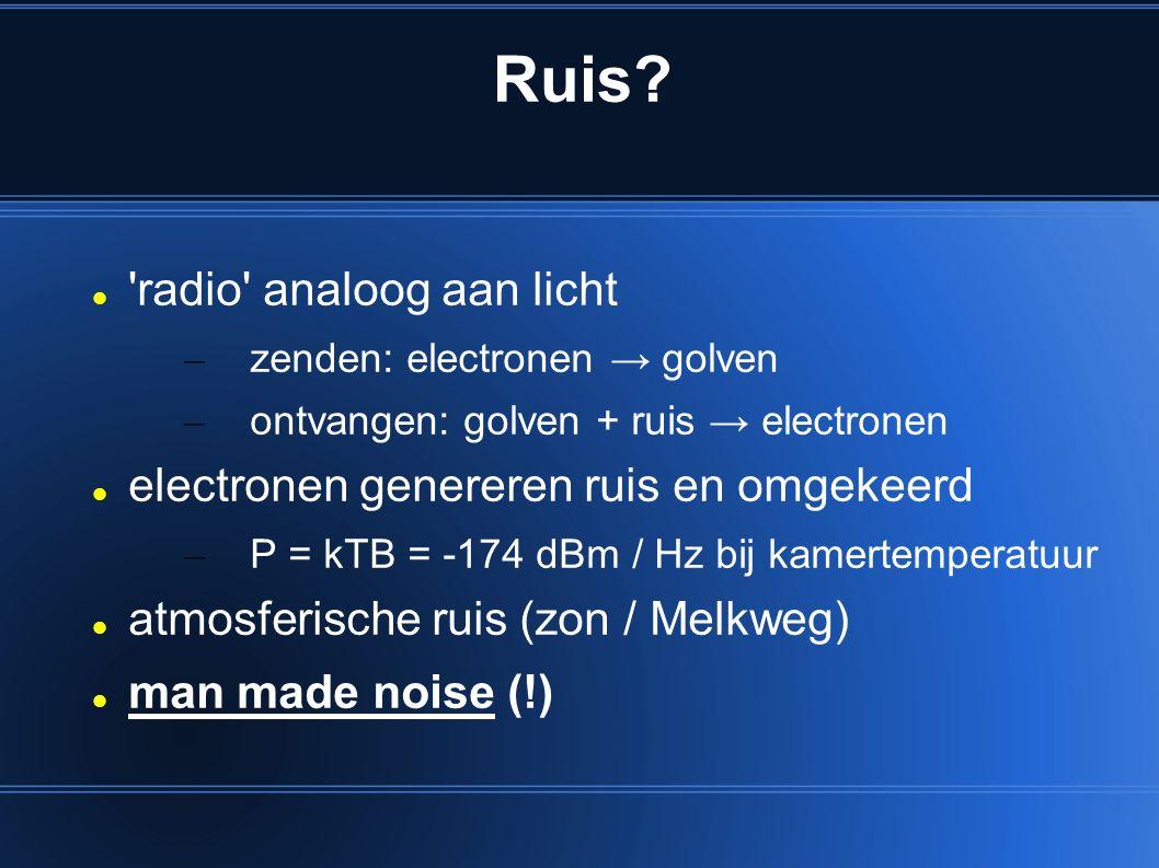 Ruis? 'radio' analoog aan licht – zenden: electronen → golven – ontvangen: golven + ruis → electronen electronen genereren ruis en omgekeerd – P = kTB