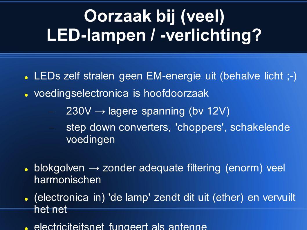 Oorzaak bij (veel) LED-lampen / -verlichting? LEDs zelf stralen geen EM-energie uit (behalve licht ;-) voedingselectronica is hoofdoorzaak – 230V → la