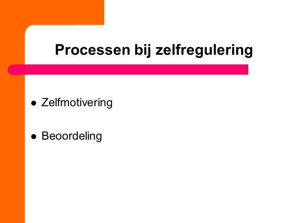 Processen bij zelfregulering Zelfmotivering Beoordeling