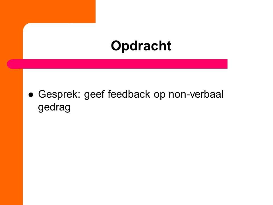 Opdracht Gesprek: geef feedback op non-verbaal gedrag