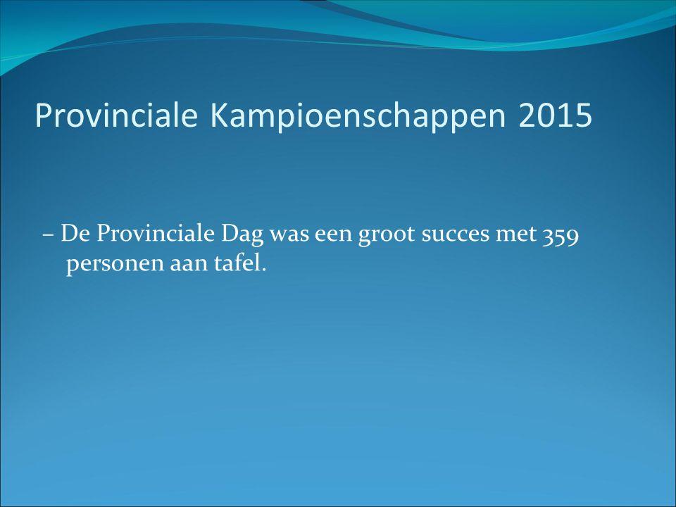 Provinciale Kampioenschappen 2015 – De Provinciale Dag was een groot succes met 359 personen aan tafel.