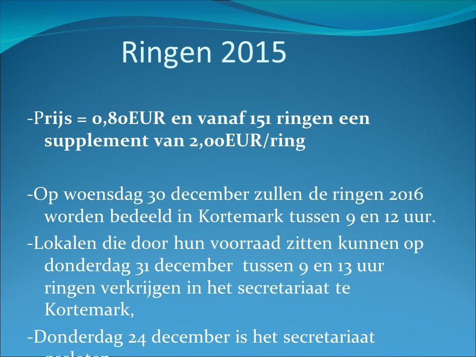 Ringen 2015 -Prijs = 0,80EUR en vanaf 151 ringen een supplement van 2,00EUR/ring -Op woensdag 30 december zullen de ringen 2016 worden bedeeld in Kortemark tussen 9 en 12 uur.
