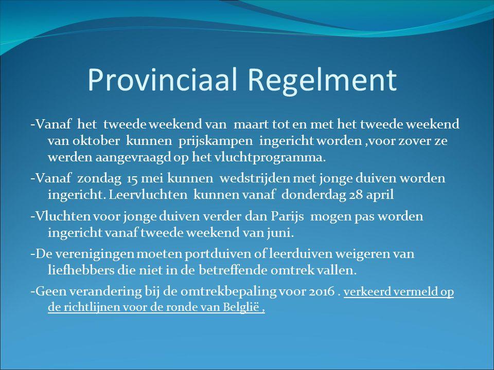 Provinciaal Regelment -Vanaf het tweede weekend van maart tot en met het tweede weekend van oktober kunnen prijskampen ingericht worden,voor zover ze werden aangevraagd op het vluchtprogramma.