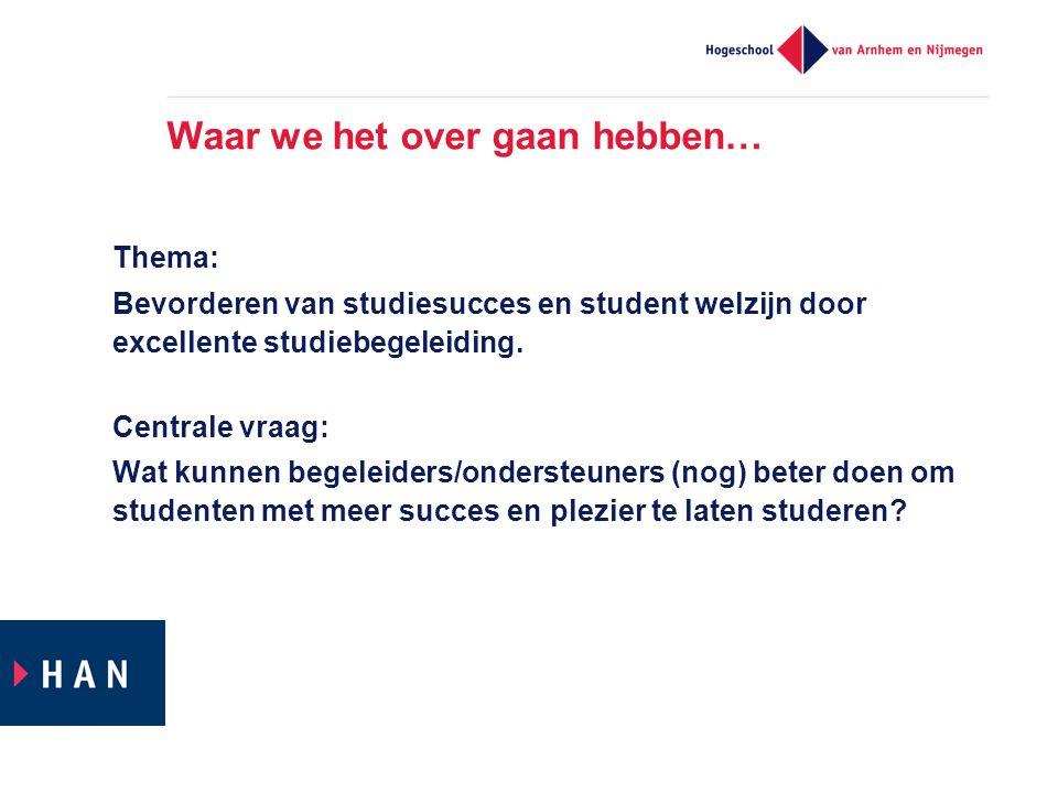 Waar we het over gaan hebben… Thema: Bevorderen van studiesucces en student welzijn door excellente studiebegeleiding.