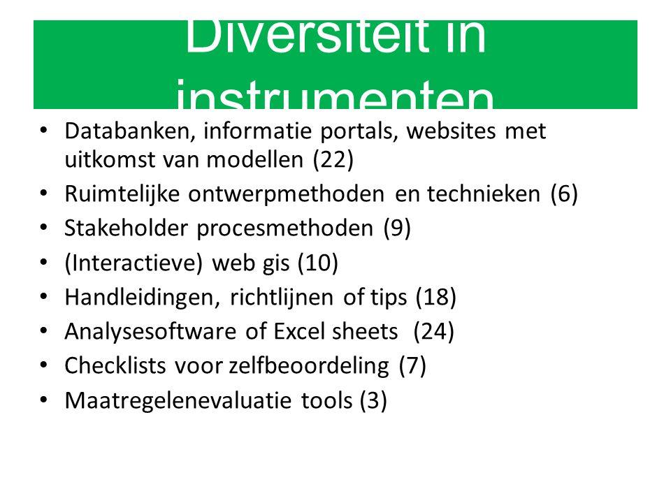 Diversiteit in instrumenten Databanken, informatie portals, websites met uitkomst van modellen (22) Ruimtelijke ontwerpmethoden en technieken (6) Stakeholder procesmethoden (9) (Interactieve) web gis (10) Handleidingen, richtlijnen of tips (18) Analysesoftware of Excel sheets (24) Checklists voor zelfbeoordeling (7) Maatregelenevaluatie tools (3)