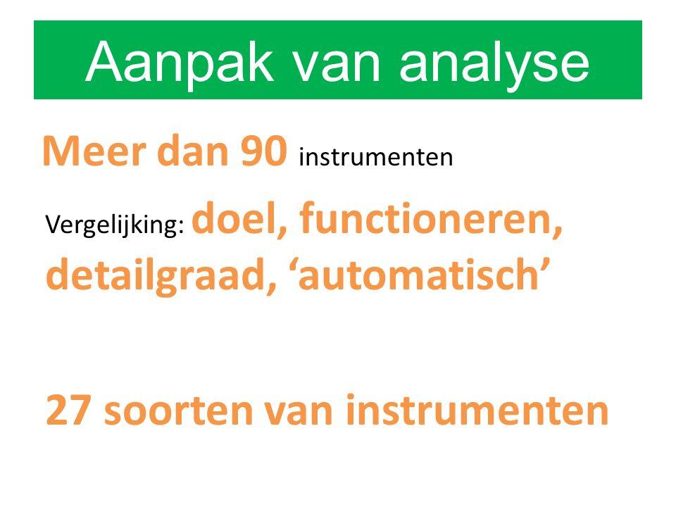 Aanpak van analyse Meer dan 90 instrumenten Vergelijking: doel, functioneren, detailgraad, 'automatisch' 27 soorten van instrumenten