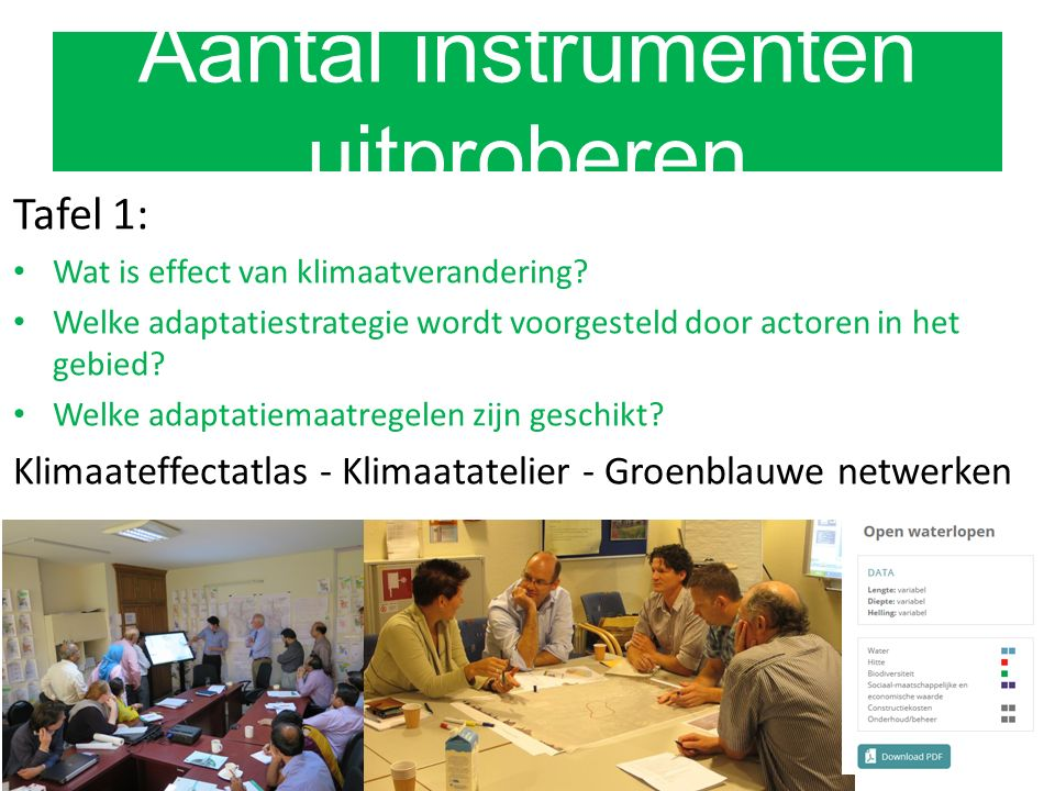 Tafel 1: Wat is effect van klimaatverandering.