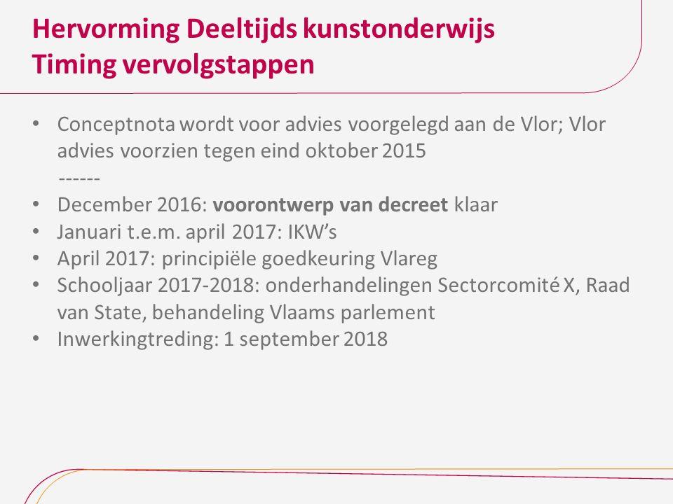 Hervorming Deeltijds kunstonderwijs Timing vervolgstappen Conceptnota wordt voor advies voorgelegd aan de Vlor; Vlor advies voorzien tegen eind oktober 2015 ------ December 2016: voorontwerp van decreet klaar Januari t.e.m.