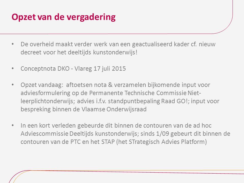 Agenda & timetable Agenda ‐ 9.30u - 10 uurKoffie ‐ 10u - 10.30u Conceptnota DKO - toelichting hoofdlijnen m.i.v.