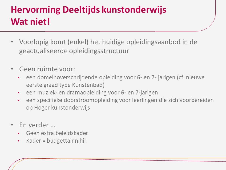 Hervorming Deeltijds kunstonderwijs Wat niet.