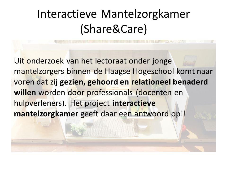 Interactieve Mantelzorgkamer (Share&Care) Uit onderzoek van het lectoraat onder jonge mantelzorgers binnen de Haagse Hogeschool komt naar voren dat zi