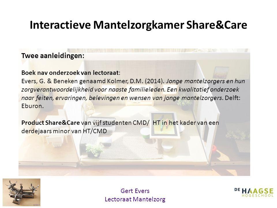 Interactieve Mantelzorgkamer Share&Care Twee aanleidingen: Boek nav onderzoek van lectoraat: Evers, G. & Beneken genaamd Kolmer, D.M. (2014). Jonge ma