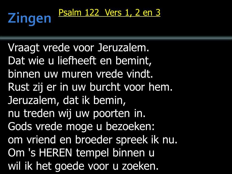 Vraagt vrede voor Jeruzalem. Dat wie u liefheeft en bemint, binnen uw muren vrede vindt.