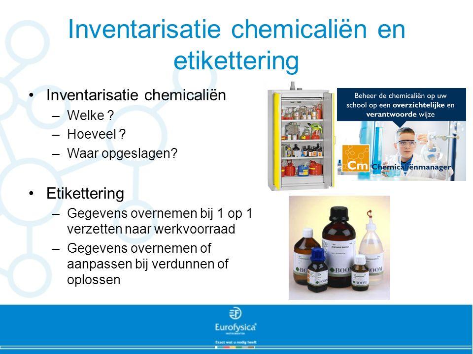 Inventarisatie chemicaliën en etikettering Inventarisatie chemicaliën –Welke ? –Hoeveel ? –Waar opgeslagen? Etikettering –Gegevens overnemen bij 1 op