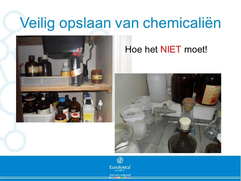 Veilig opslaan van chemicaliën Hoe het NIET moet!