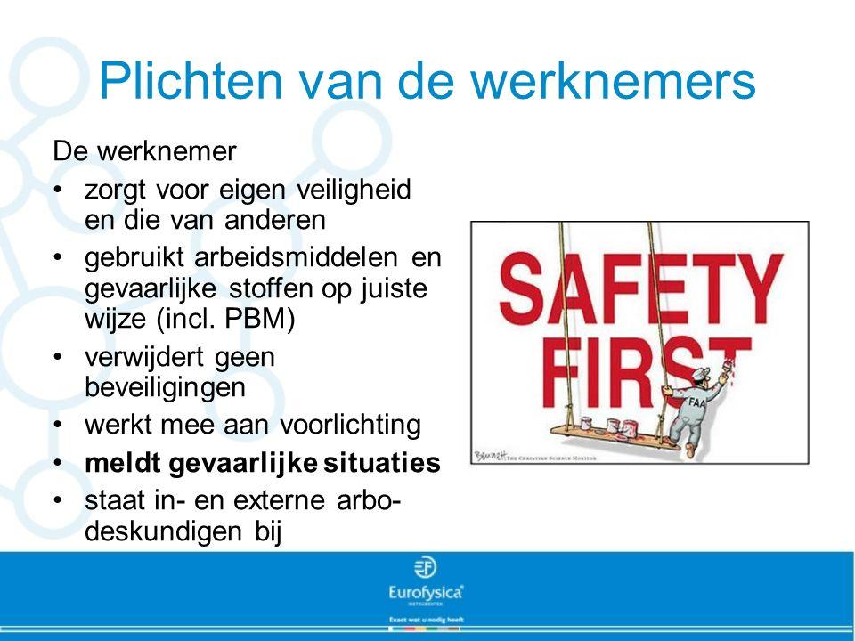 Plichten van de werknemers De werknemer zorgt voor eigen veiligheid en die van anderen gebruikt arbeidsmiddelen en gevaarlijke stoffen op juiste wijze