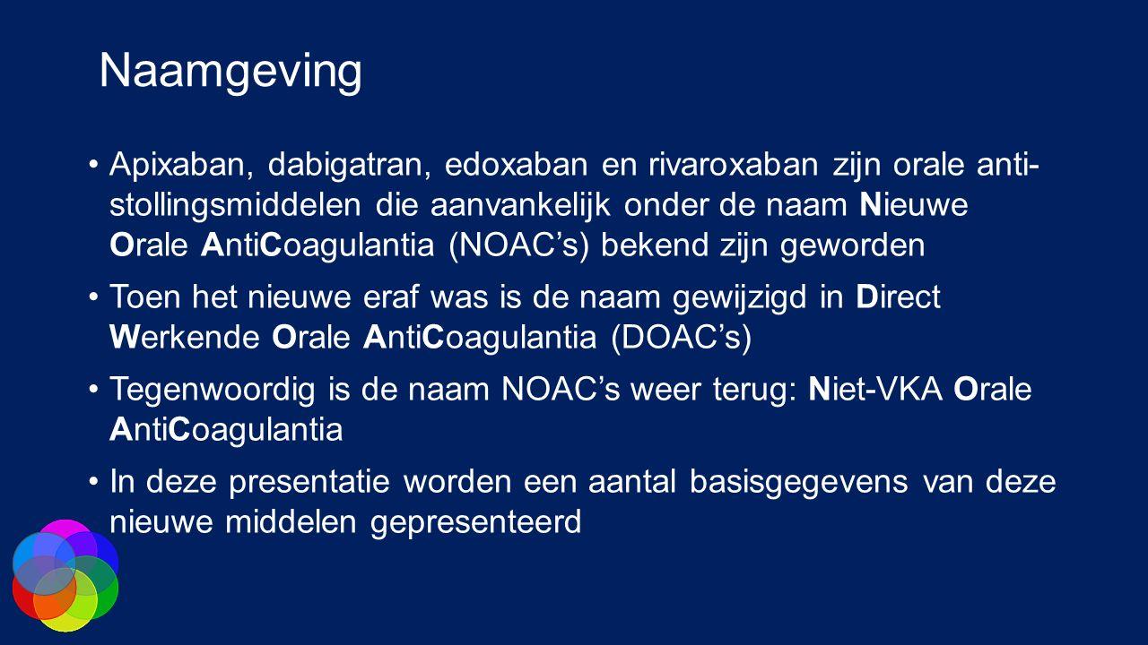 Naamgeving Apixaban, dabigatran, edoxaban en rivaroxaban zijn orale anti- stollingsmiddelen die aanvankelijk onder de naam Nieuwe Orale AntiCoagulanti