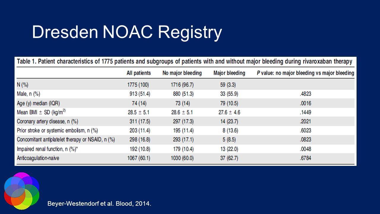 Dresden NOAC Registry Beyer-Westendorf et al. Blood, 2014.