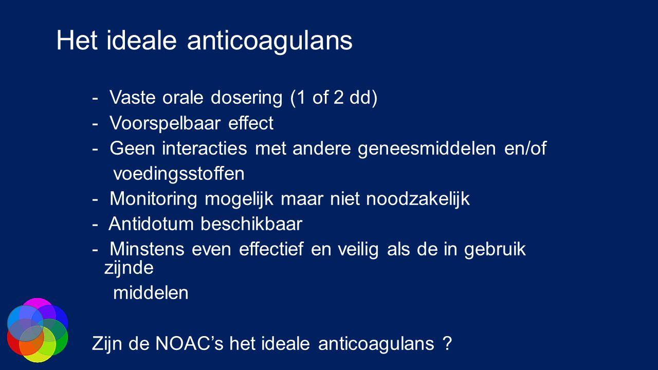 Het ideale anticoagulans - Vaste orale dosering (1 of 2 dd) - Voorspelbaar effect - Geen interacties met andere geneesmiddelen en/of voedingsstoffen - Monitoring mogelijk maar niet noodzakelijk - Antidotum beschikbaar - Minstens even effectief en veilig als de in gebruik zijnde middelen Zijn de NOAC's het ideale anticoagulans ?