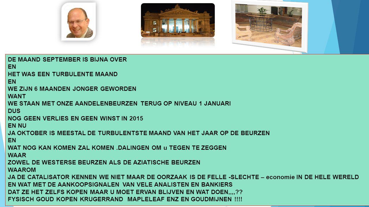 10/01/2016 2 DE MAAND SEPTEMBER IS BIJNA OVER EN HET WAS EEN TURBULENTE MAAND EN WE ZIJN 6 MAANDEN JONGER GEWORDEN WANT WE STAAN MET ONZE AANDELENBEURZEN TERUG OP NIVEAU 1 JANUARI DUS NOG GEEN VERLIES EN GEEN WINST IN 2015 EN NU JA OKTOBER IS MEESTAL DE TURBULENTSTE MAAND VAN HET JAAR OP DE BEURZEN EN WAT NOG KAN KOMEN ZAL KOMEN.DALINGEN OM u TEGEN TE ZEGGEN WAAR ZOWEL DE WESTERSE BEURZEN ALS DE AZIATISCHE BEURZEN WAAROM JA DE CATALISATOR KENNEN WE NIET MAAR DE OORZAAK IS DE FELLE -SLECHTE – economie IN DE HELE WERELD EN WAT MET DE AANKOOPSIGNALEN VAN VELE ANALISTEN EN BANKIERS DAT ZE HET ZELFS KOPEN MAAR U MOET ERVAN BLIJVEN EN WAT DOEN,,,,?.