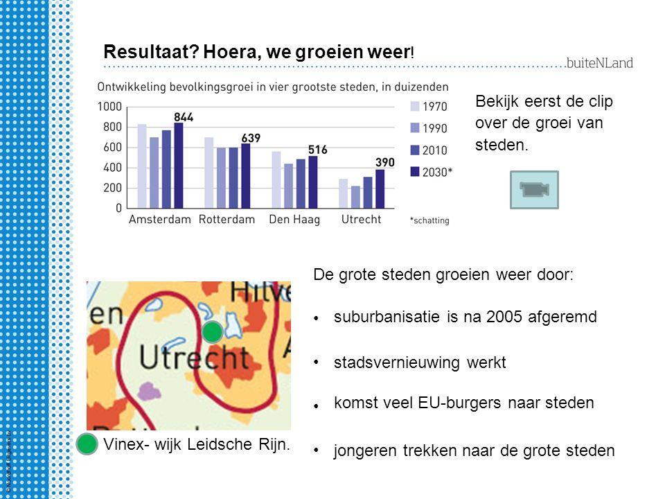 Resultaat? Hoera, we groeien weer ! Bekijk eerst de clip over de groei van steden. Vinex- wijk Leidsche Rijn. De grote steden groeien weer door: subur