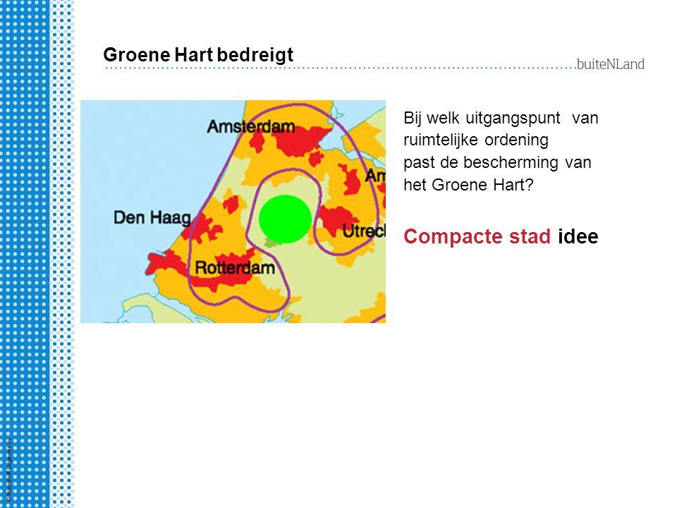Bij welk uitgangspunt van ruimtelijke ordening past de bescherming van het Groene Hart? Compacte stad idee Groene Hart bedreigt