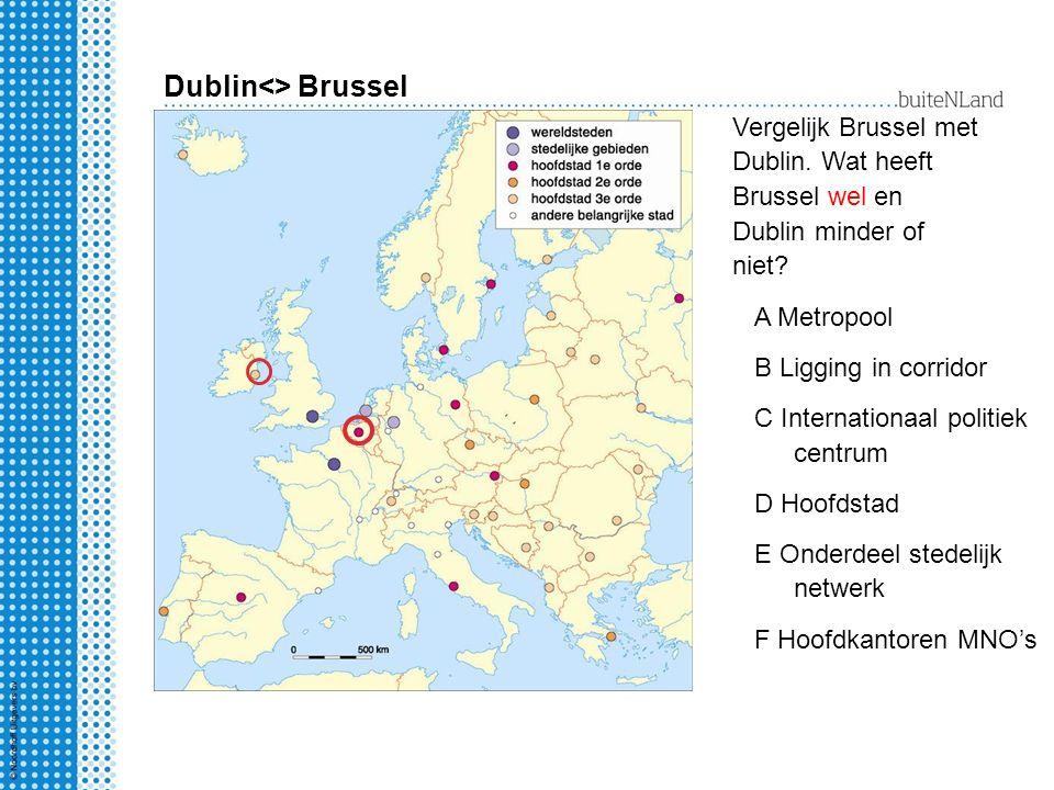 Dublin<> Brussel Vergelijk Brussel met Dublin. Wat heeft Brussel wel en Dublin minder of niet? A Metropool B Ligging in corridor C Internationaal poli
