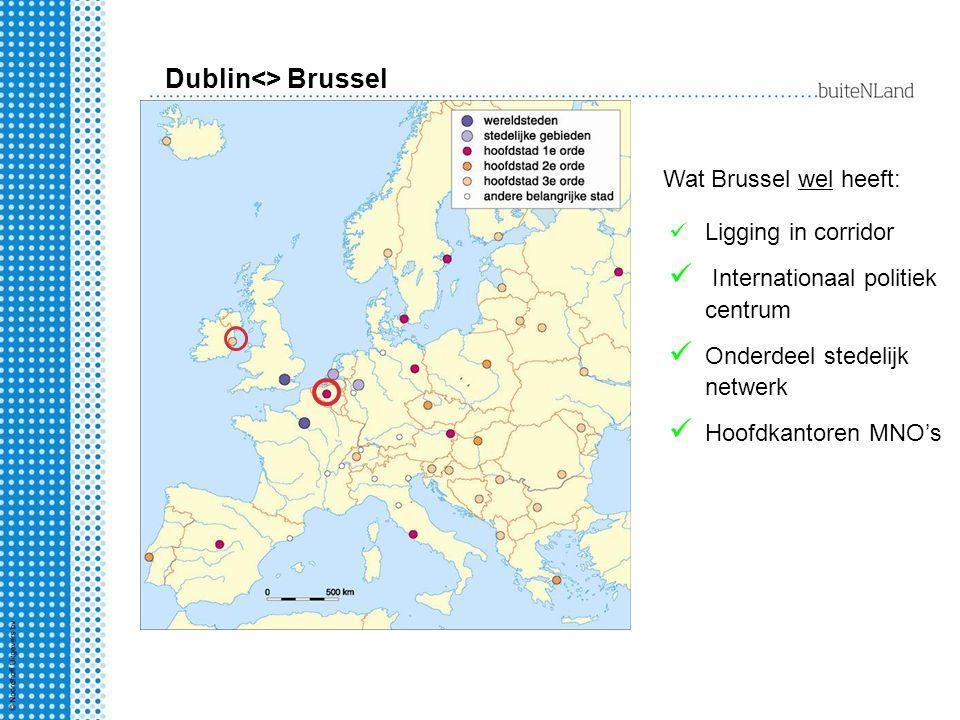 Dublin<> Brussel Ligging in corridor Internationaal politiek centrum Onderdeel stedelijk netwerk Hoofdkantoren MNO's Wat Brussel wel heeft: