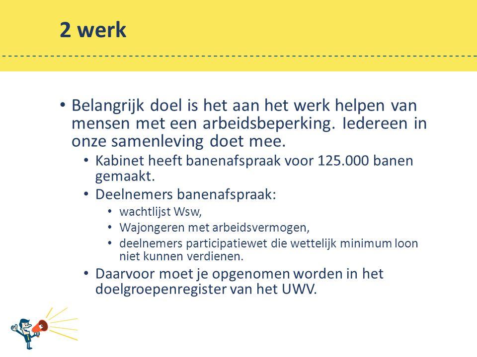 2 werk Belangrijk doel is het aan het werk helpen van mensen met een arbeidsbeperking.