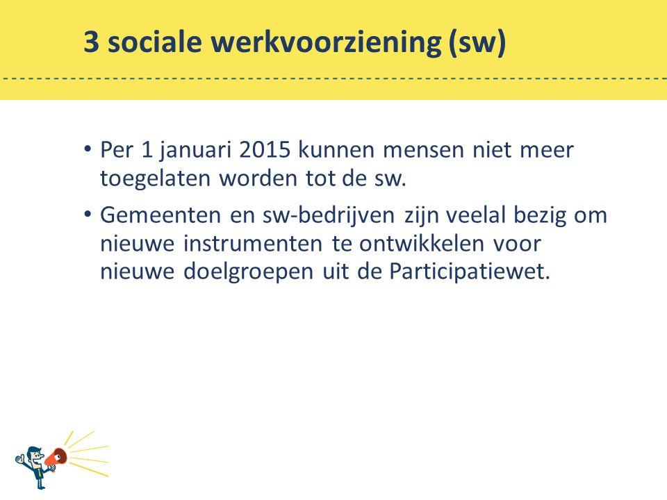 3 sociale werkvoorziening (sw) Per 1 januari 2015 kunnen mensen niet meer toegelaten worden tot de sw.