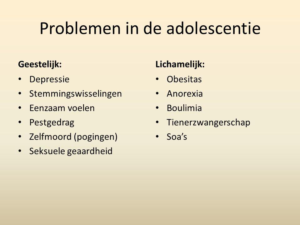 Problemen in de adolescentie Geestelijk: Depressie Stemmingswisselingen Eenzaam voelen Pestgedrag Zelfmoord (pogingen) Seksuele geaardheid Lichamelijk: Obesitas Anorexia Boulimia Tienerzwangerschap Soa's