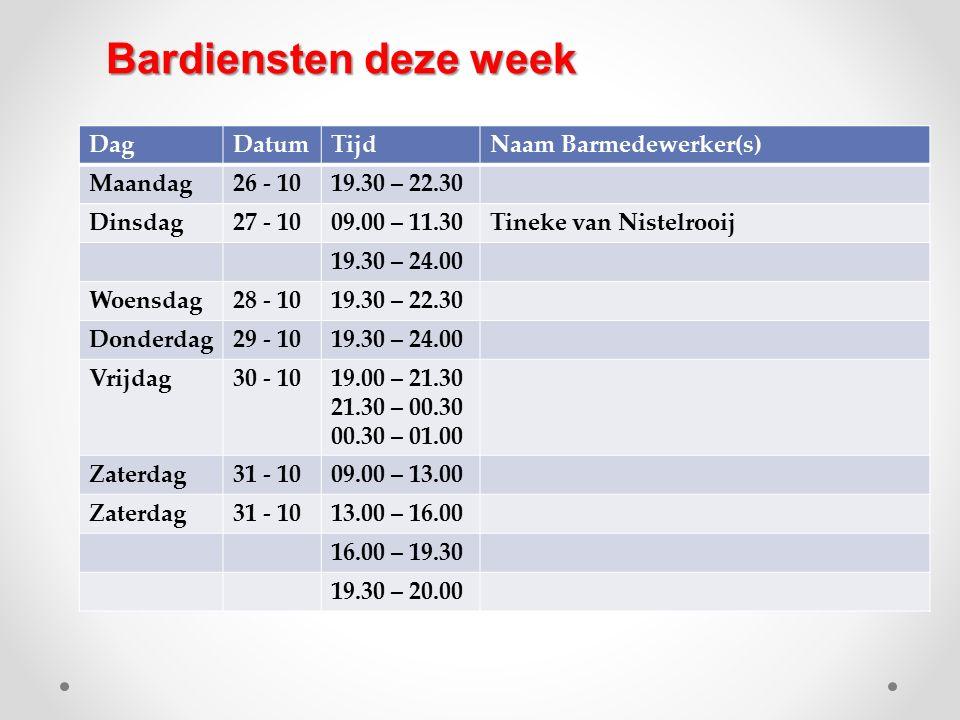 DagDatumTijdNaam Barmedewerker(s) Maandag26 - 1019.30 – 22.30 Dinsdag27 - 1009.00 – 11.30Tineke van Nistelrooij 19.30 – 24.00 Woensdag28 - 1019.30 – 2