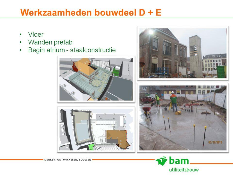 Werkzaamheden bouwdeel D + E 10 Vloer Wanden prefab Begin atrium - staalconstructie