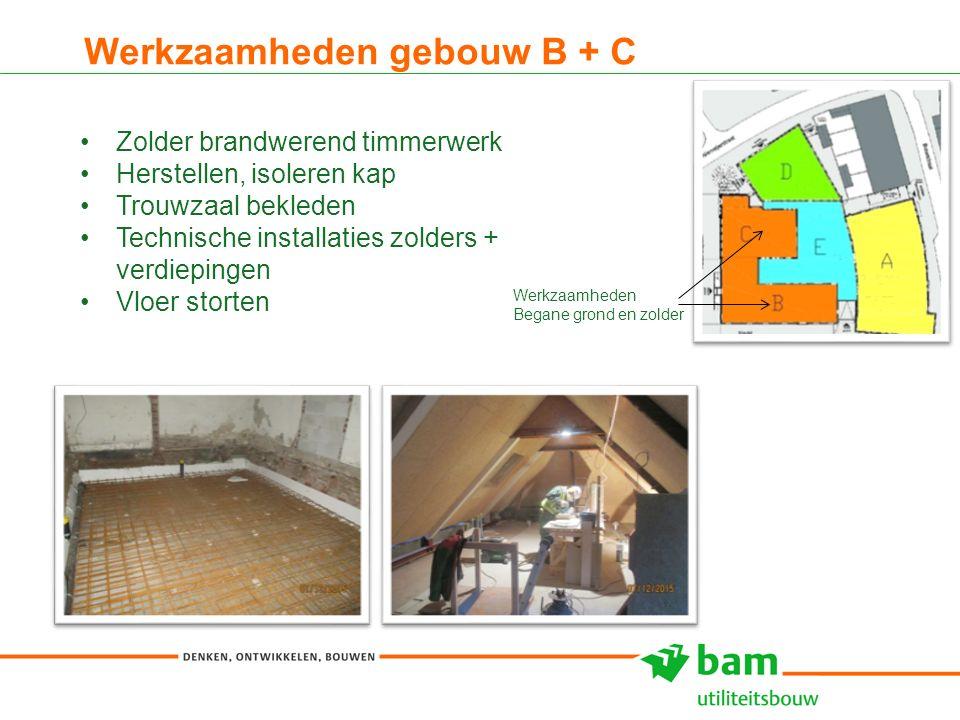 Werkzaamheden gebouw B + C 9 Zolder brandwerend timmerwerk Herstellen, isoleren kap Trouwzaal bekleden Technische installaties zolders + verdiepingen Vloer storten Werkzaamheden Begane grond en zolder