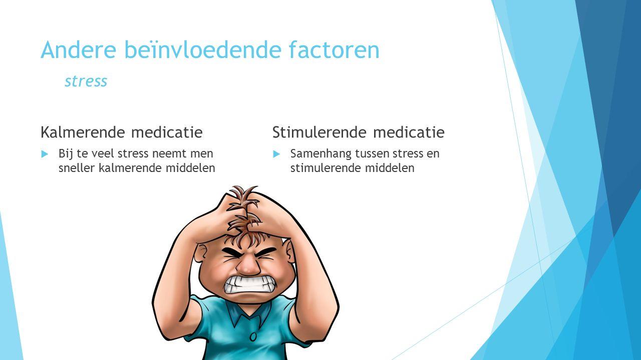 Andere beïnvloedende factoren stress Kalmerende medicatie  Bij te veel stress neemt men sneller kalmerende middelen Stimulerende medicatie  Samenhang tussen stress en stimulerende middelen